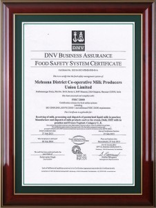 DNV  BUSINESS ASSURANCE FOOD SAFETY SYSTEM CERTIFICATE
